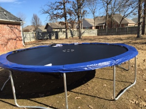 Freaking finally. What? There's more? A what? A net? Why do they need a net? We fell off trampolines in the 80's and lived through it!